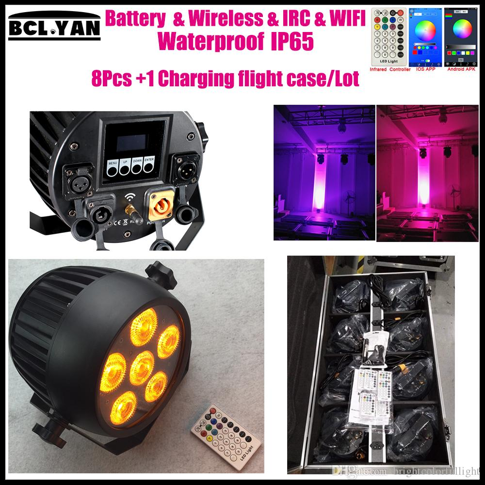 High brightness new waterproof ip65 led battery powered wireless dmx led stage light for wedding dj event party 6*18w RGBWA UV