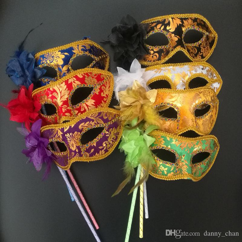 7 colors Handheld Venetian Half face flower mask Masquerade Party Mask Halloween christmas dance wedding Party Mask supplies