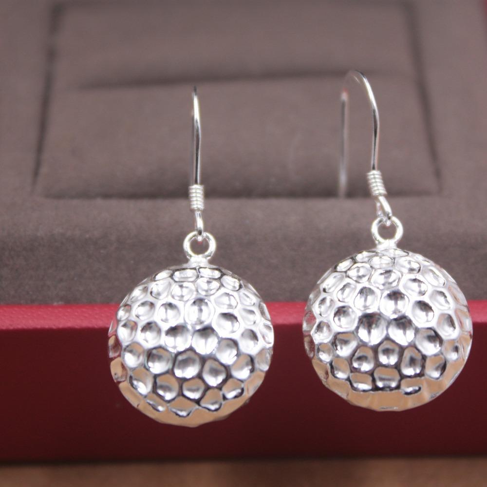 Orecchini puro S925 argento ciondola gli orecchini rotondi delle donne del tamburo 30mmL della moda di New