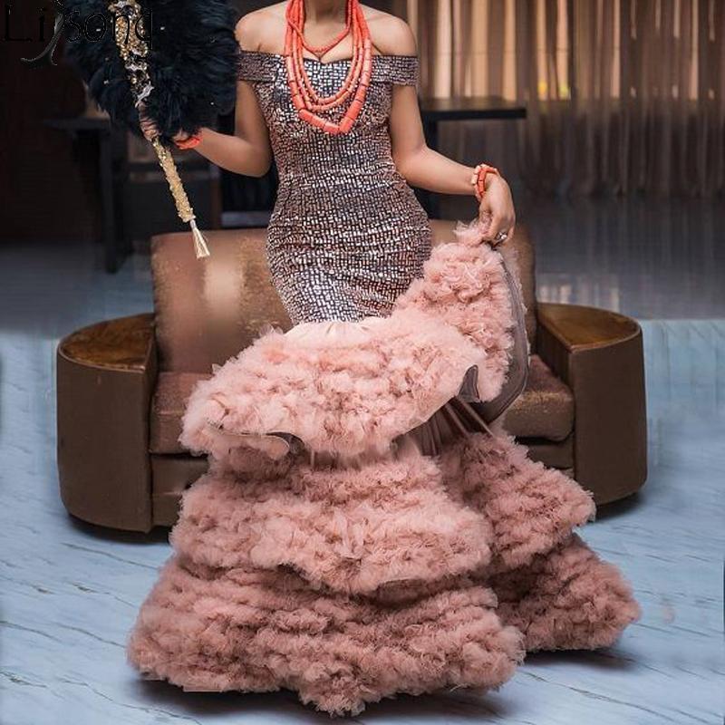 Beading Off Vintage o ombro vestido de noite na Turquia Brown em camadas de tule saia longa Prom Dresses Mermaid formal do partido do vestido
