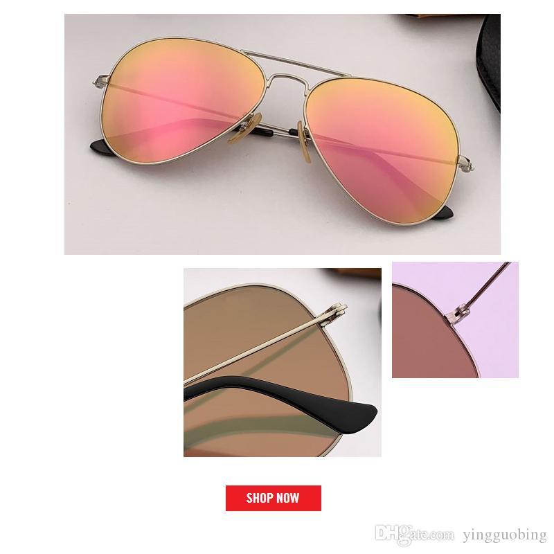 2019 أعلى جودة الطيران النظارات الشمسية المرأة العلامة التجارية مصمم الطيار مكبرة مرآة أنثى الرجال نظارات شمسية تعكس gfas rd3025