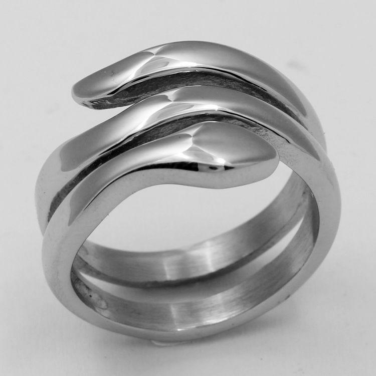 2020 neuer europäischer und amerikanischer heißer Verkauf kreativer schlangenförmiger Titan-Edelstahl-Ring-Paare Herren- und Damen-Ringkopf-Hand-Zugang