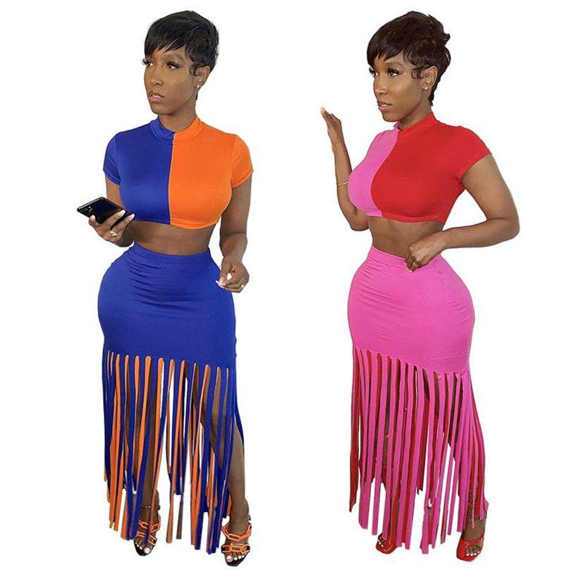 Summer Women brand dress suit two piece set pullover crop top+tassels skirts fashion T-shirt package hip skirt night club wear 2710