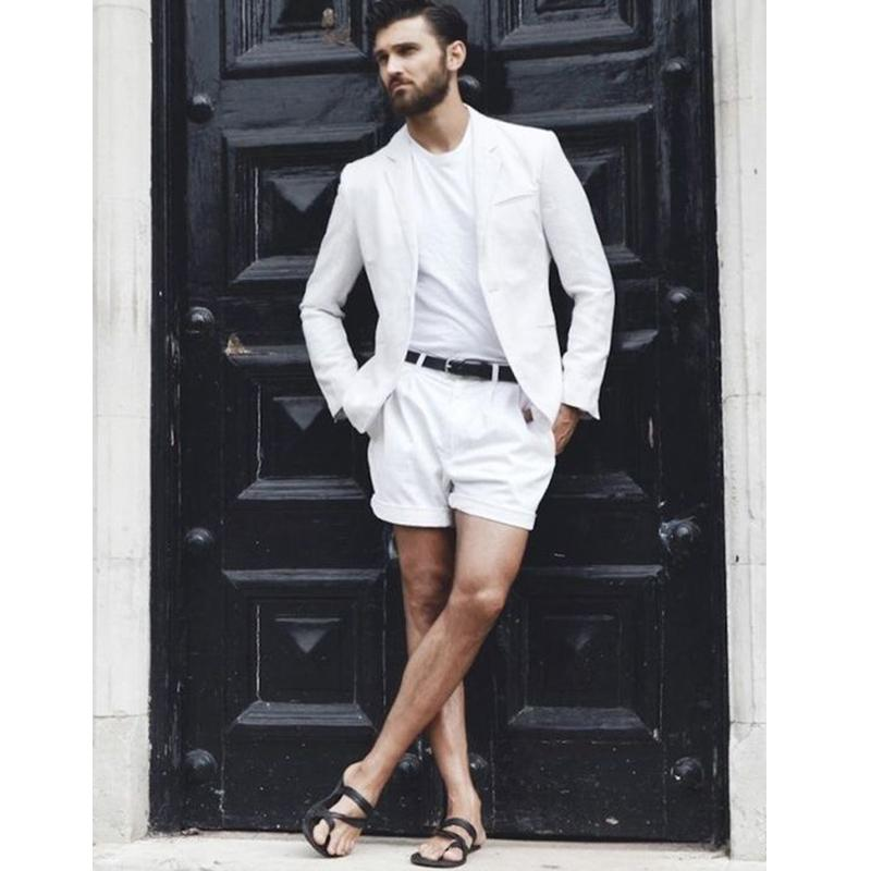 New Arrival White Summer Short Mens Suits for Beach with Short Pants 2 piece Male Blazer Masculino Latest Fashion Design Clothes