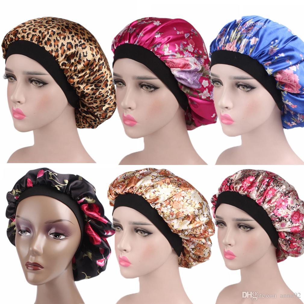 Yeni Fshion Kadınlar Saten Gece Uyku Kap Saç Bonnet Şapka Ipek Baş Kapağı Geniş Elastik Bant ücretsiz kargo sıcak satmak yeni 2019 toptan şiir