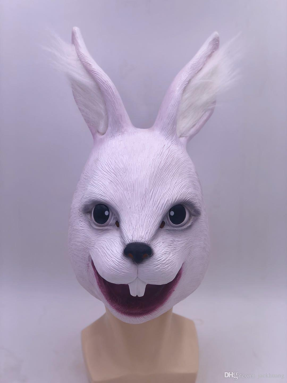 Creepy Rabbit Head Mask Halloween Costume Theater Prop Novelty Latex Rubber High Quality