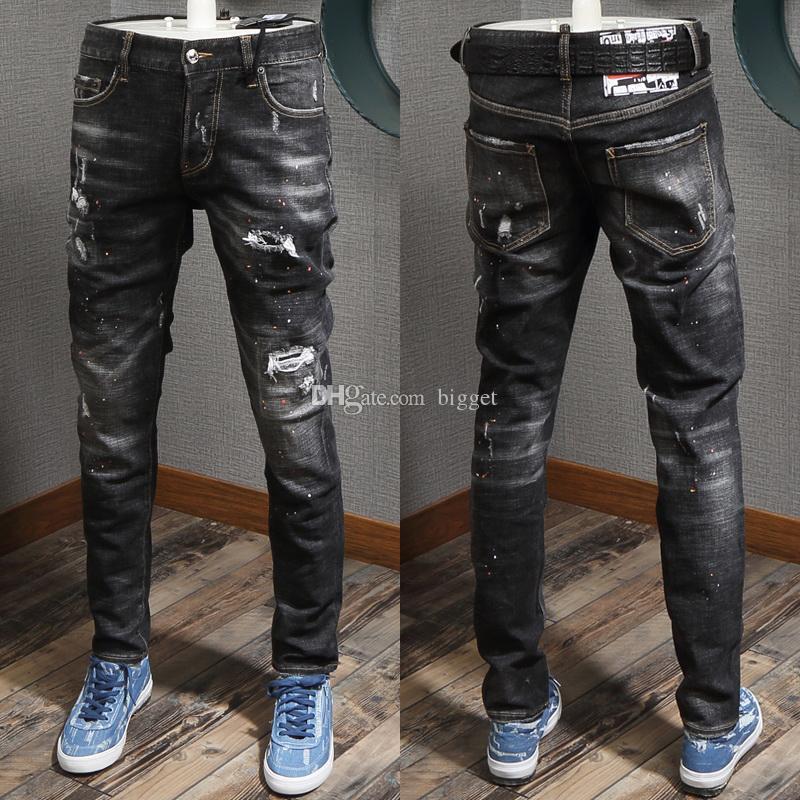 Black Damage Jeans Men Popular Denim Pants Pencil Leg Hot Sale Cowboy Trousers Nice Quality Slim Fit