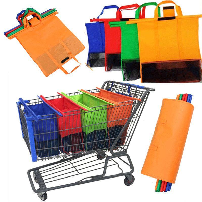 4pcs riutilizzabile supermercato non tessuto appeso carrello della spesa portatile sacchetto di immagazzinaggio pieghevole ecologico carrello della spesa tote borse all'ingrosso