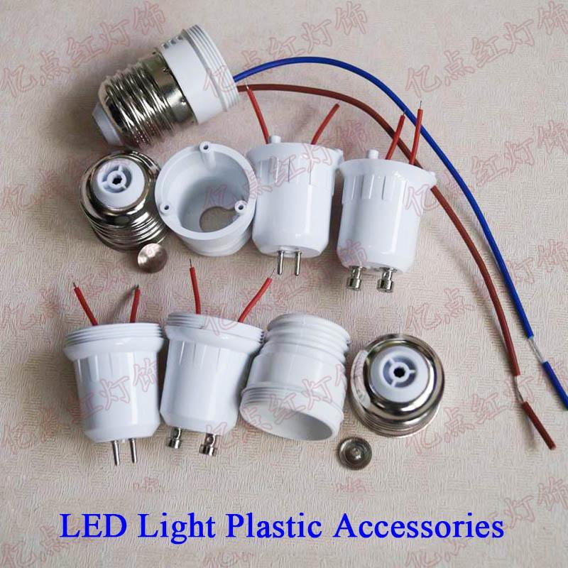 LED Lights Plastic Accessories G5.3 GU5.3 GU10 MR16 E27 Base LED Spotlight Holder with Wire