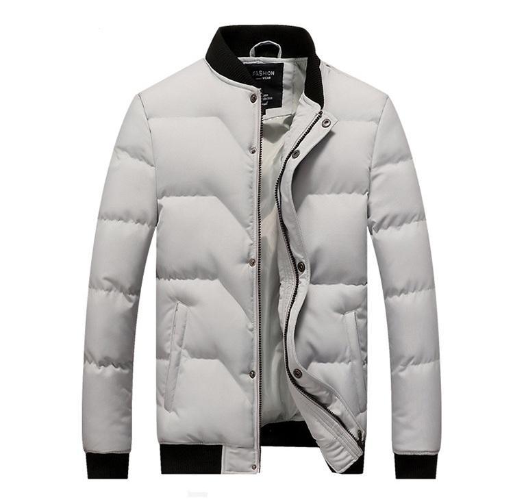 Erkek M için Mens Kış Ceket 4 Renkler Katı Oluklu Uzun Kollu Kabarcık Coat Plus Size Sıcak Ceketler - 4XL