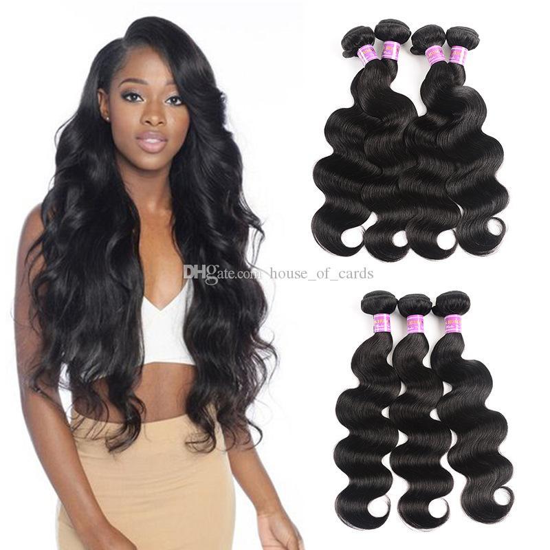 8A vierge brésilienne humaine de vague de corps de cheveux Bundles de Natural Black
