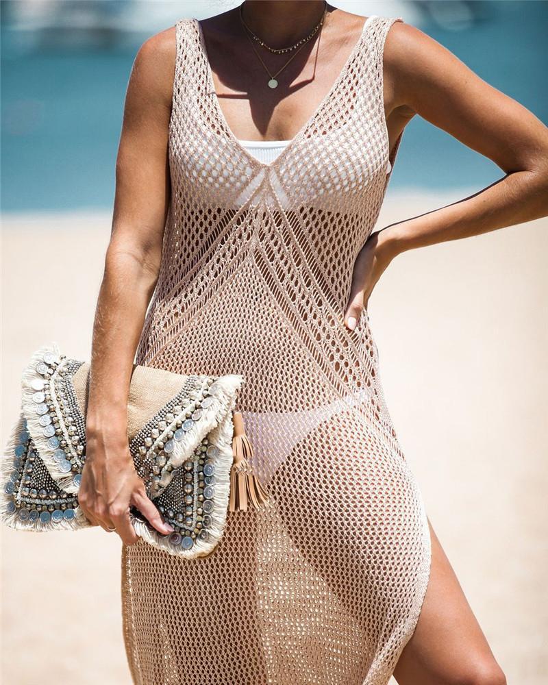 Womens de Split Casual Bikini Beach Smock Mode Tricot coupe-circuit Camisole Ladys Vacances d'été Sun Shirt 2020 Nouvelle Arrivée Top Hot
