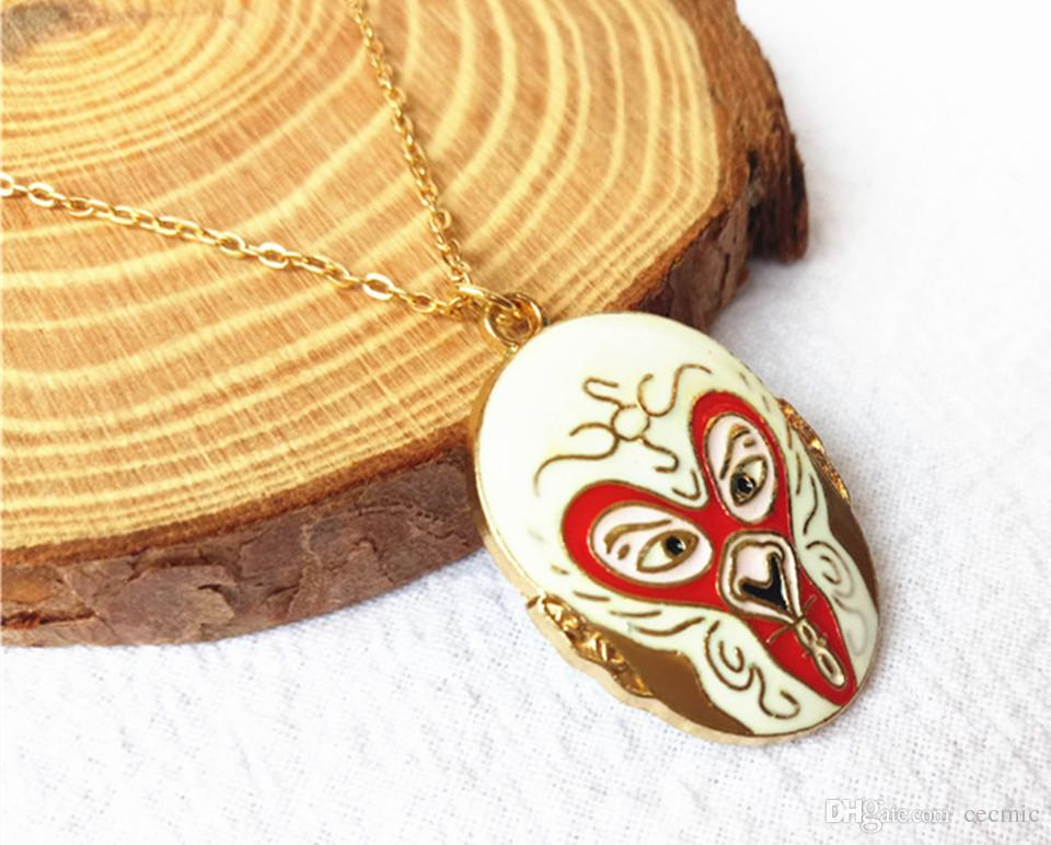 cecmic gold monkey king anime pendant necklace for man and children chinese drama mask gift special for him