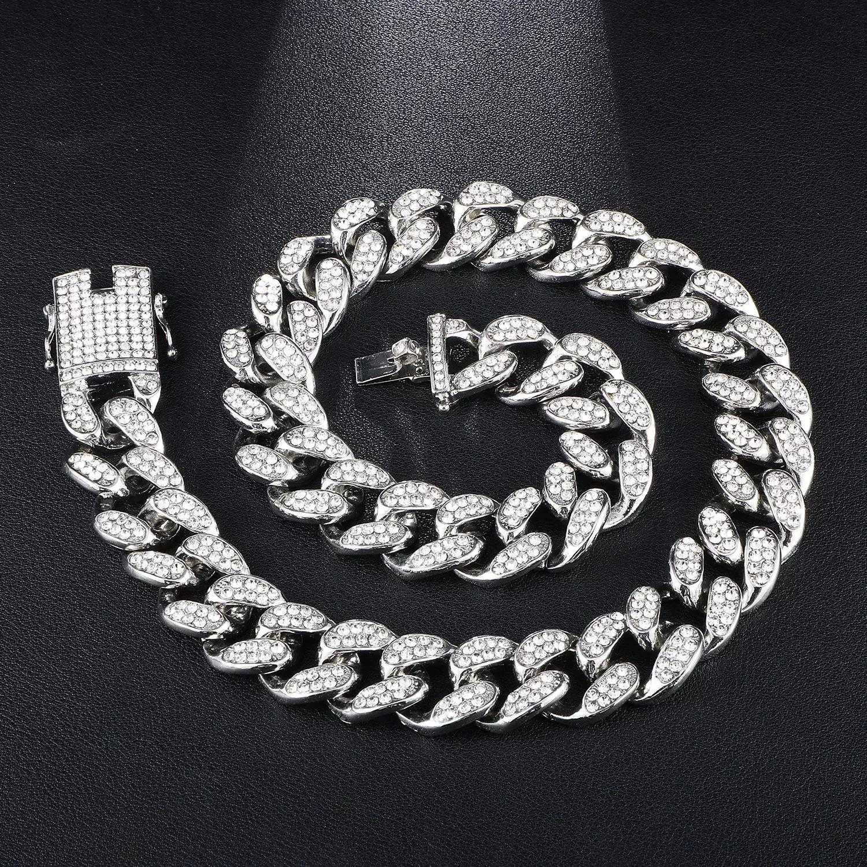 Designer de luxo jóias masculinas colar hip hop gelado fora cubano link cadeia bling diamante tênis declaração moda charme jewlery 19mm homens