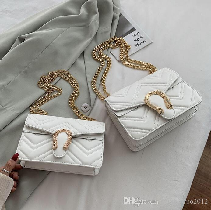 wholesale women handbag small fresh wave pattern women shoulder bag street trend gold buckle chain bag elegant atmosphere leather fashion ba