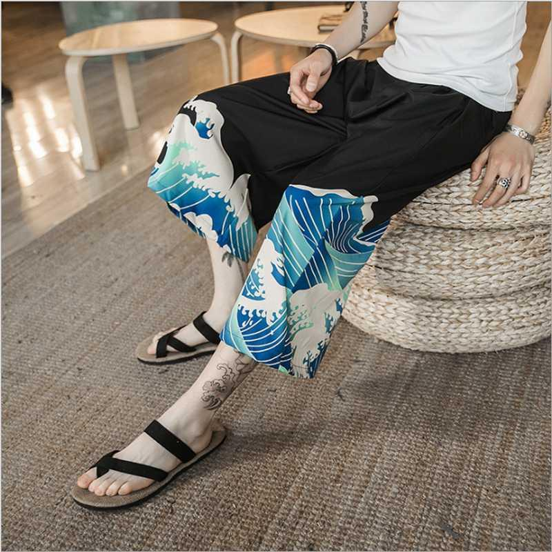 Man Wide Leg Pants Japanese Style Harajuku Ukiyo Wave Print Casual Elastic Cartoon Leisure Loose Harem Trousers