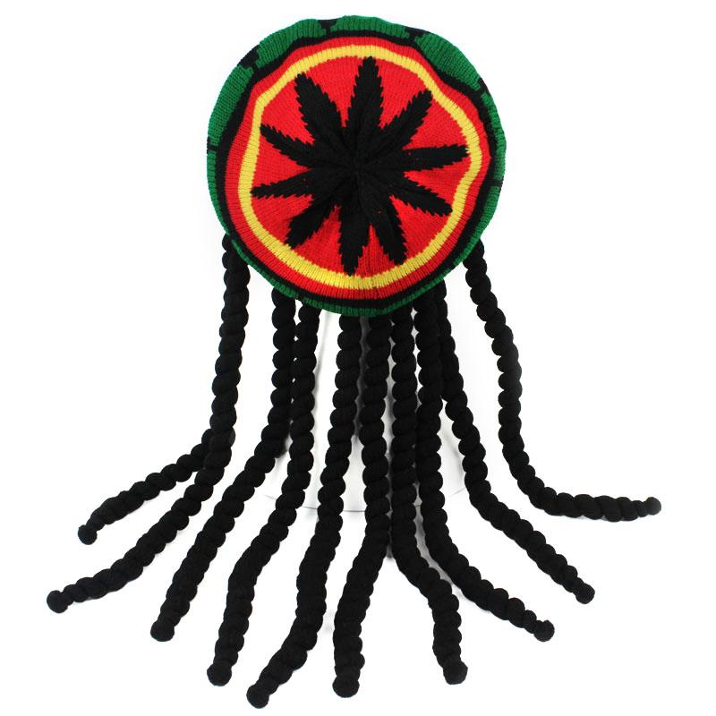 2020 Men Women Jamaican Style Rastafarian Hat Multi-color Headwear Tassel Hair Accessories Ideal For Fancy Dress Party Hot Sale