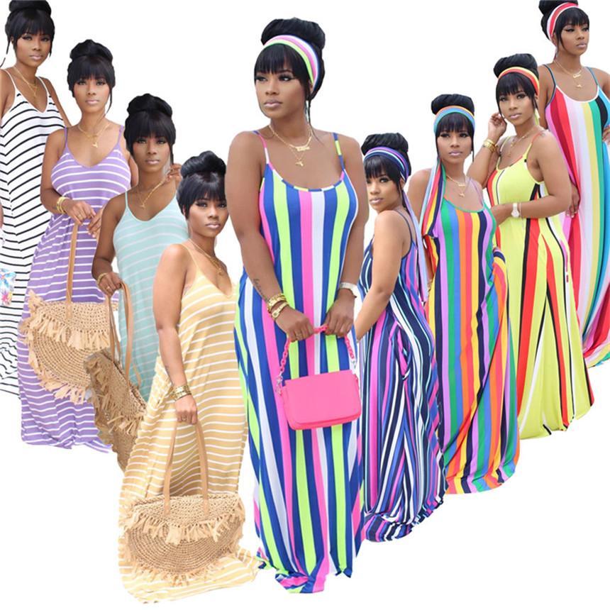 Women striped print dress spaghetti strap maxi skirts headband sleeveless sexy dresses summer clothing beach casual dress plu size 3133