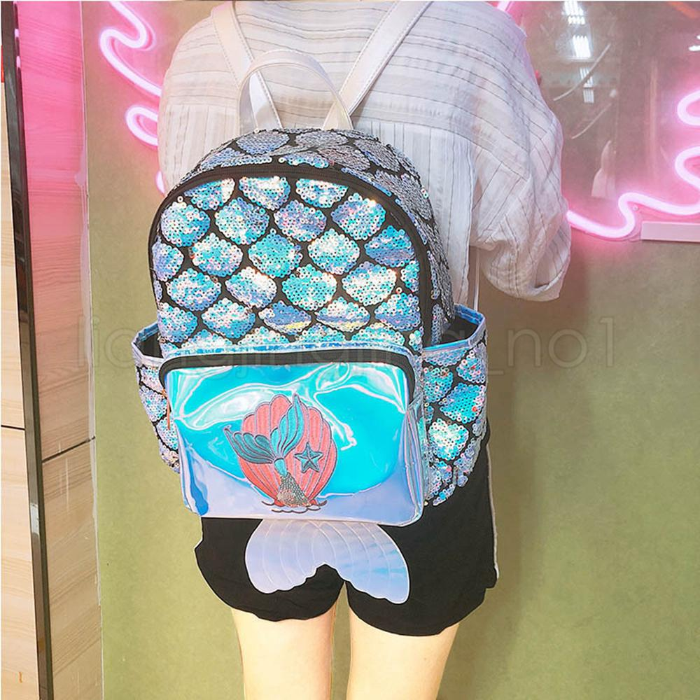 Mermaid laser Children Backpacks sequin Girls Backpacks fish tail kids party summer bag Girls School Bags Satchel Bag Backpack FFA2040