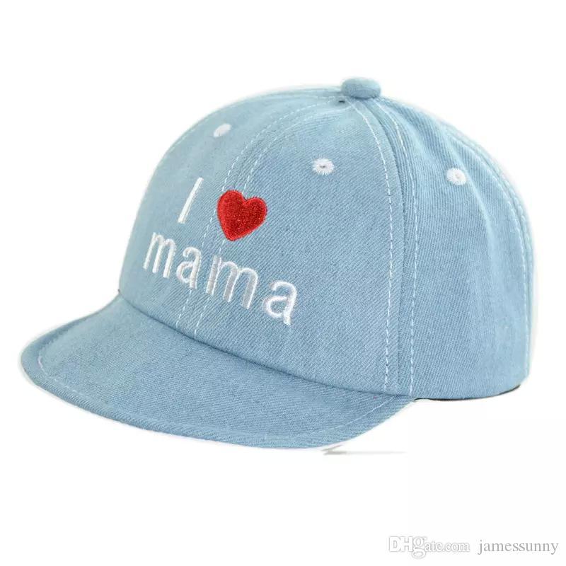 vendita calda I Love Mama Papa Cappelli Denim Lettera Mama Buon giorno Come si fa a fare i cappelli per bambini Tappi a sfera Regalo di Natale Drop Ship