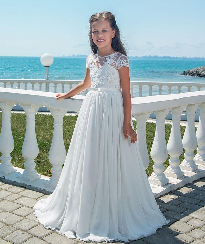 2019 Lange Chiffon Blumenmädchenkleider Flügelärmeln Party Pageant Kleider A-Line Spitze Blume Mädchen Kleider Weiß Erstkommunion Kleid