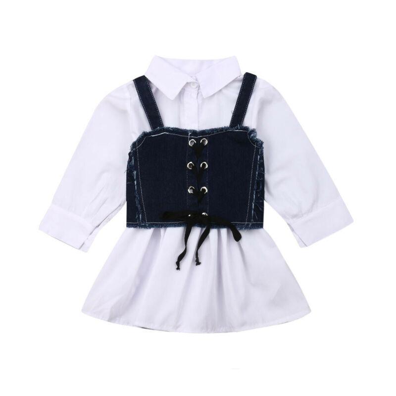 어린이 공주 드레스 + 벨트 신생아 아기 소녀 긴 소매 셔츠 슬링 데님 드레스 패션 봄 가을 소녀 의류 세트 1-6Y