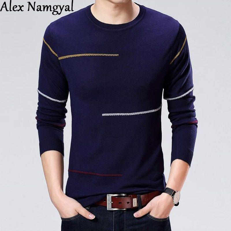 Herrenpullover Alexamgyal Pullover 2021 Herbst Winter Herrenmarke Slim Fit gestrickte lässig Oansatz Wolle Pullover HJK19