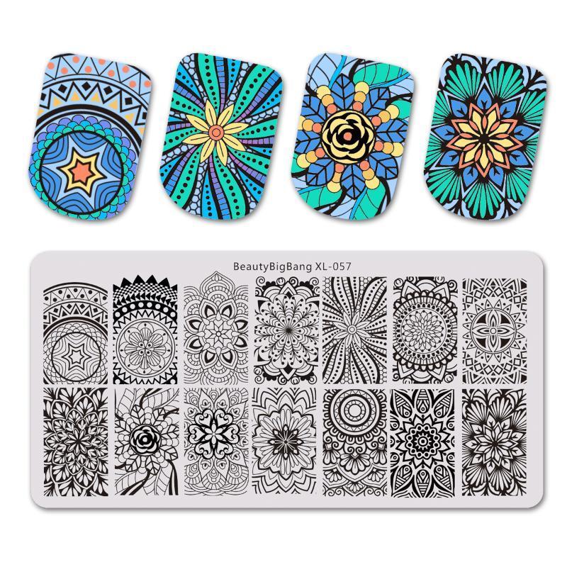 BEAUTYBIGBANG Прямоугольник Stamp Nail Штамповка пластин шаблон Спираль винт Mandala Дизайн маникюр Nail Art Image Plate XL-57