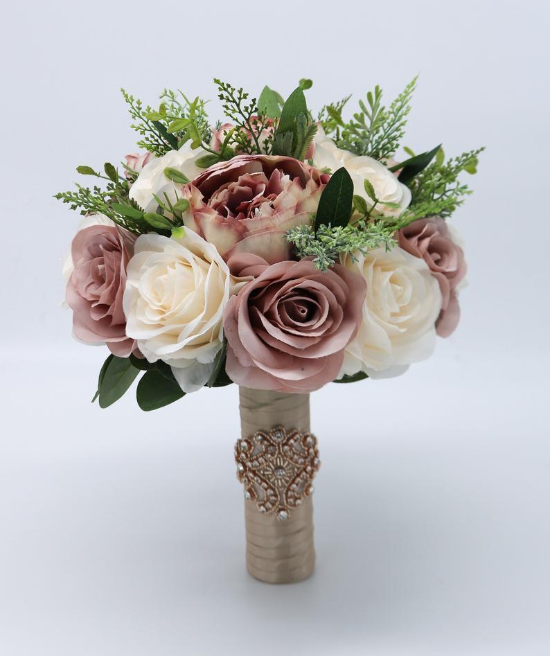 Gelin Buketi Ipek Düğün Çiçek Nedime Gül Peonies Boho Yapay Çiçek Evlilik Aksesuarları Ramos De Flores Para Novias