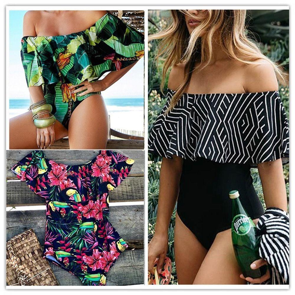 Ashgaily Schwarze Spitze Volant Off Schulter Badeanzug Frauen Sexy Bodysuit Monokini Bademode Rüschen Einteiliger Badeanzug Badeanzug C19030201
