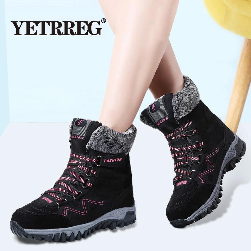 botas nueva llegada de la manera del cuero del ante de las mujeres botas de nieve caliente felpa del invierno de las mujeres zapatos impermeables del tobillo botas planas 35-42 T191210
