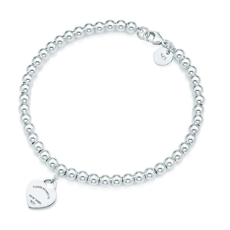 Logo 100% 925 Silver pendant tag bracelets T Genuine Charm love Heart Bead Bracelet Original Female men Jewelry Personality GiftNew Logo
