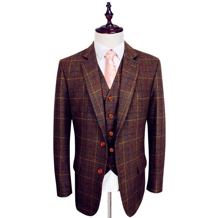 Шерстяной коричневый классический твид жених костюмы на заказ мужской костюм блейзеры ретро джентльмен стиль портной 3 шт. свадебные костюмы куртка + брюки + жилет