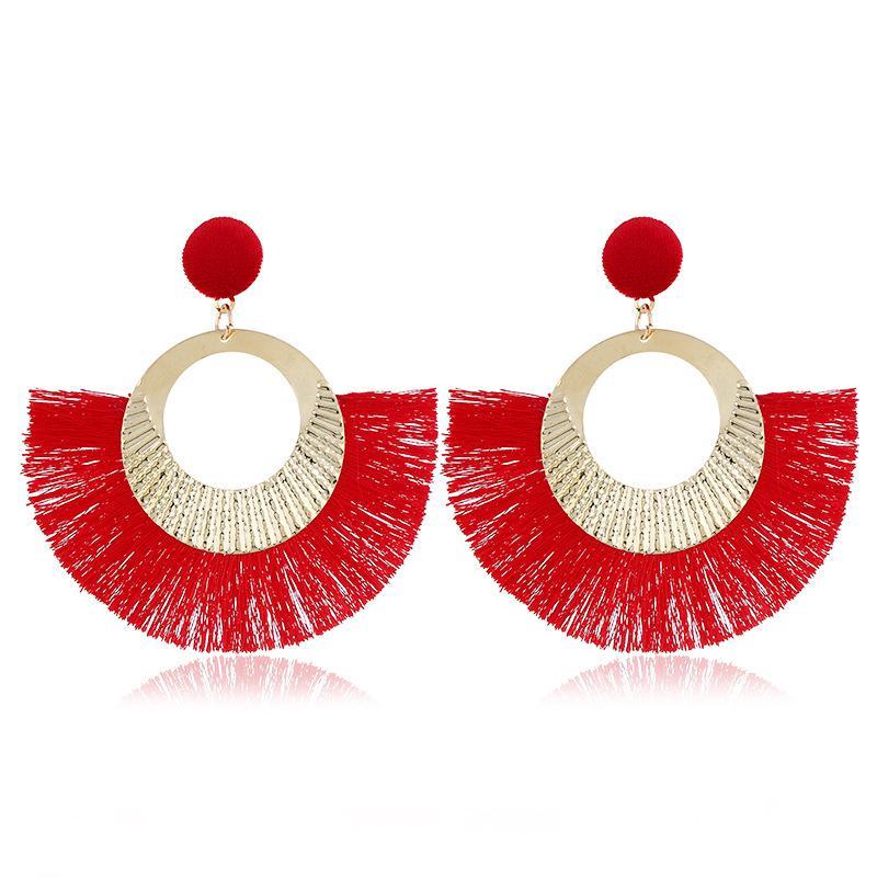 Fan Shaped Tassel Hyperbole Stud Earring Retro Punk Dance 2019 Fashion National Style Trend Temperament Eardrop Earrings Women Jewelry Trend