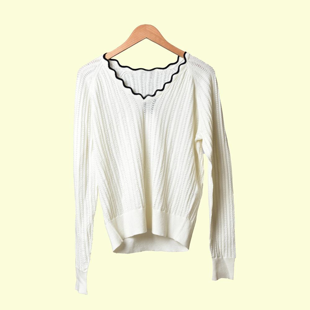 2019 otoño otoño blanco manga larga v cuello de contraste color punto fullero suéter suéteres de moda OT1021092M