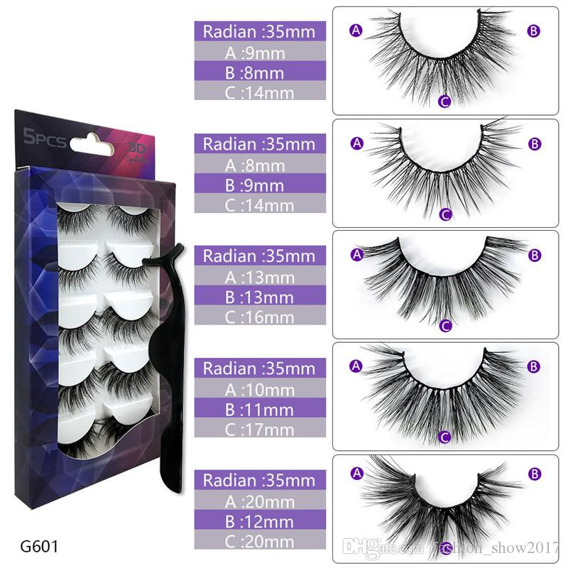 5 paires Faux Vison Cils épais naturel 3D Lashes maquillage naturel faux cils cils HandMade outil d'extension de faux cils