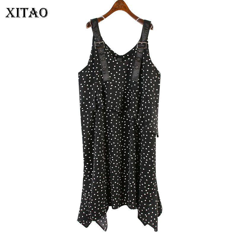 Xitao Strapless Vestido Vintage 2020 Primavera-Verão Chiffon Dot Irregular Patchwork Casual estilo solto vestido plissado XJ4355