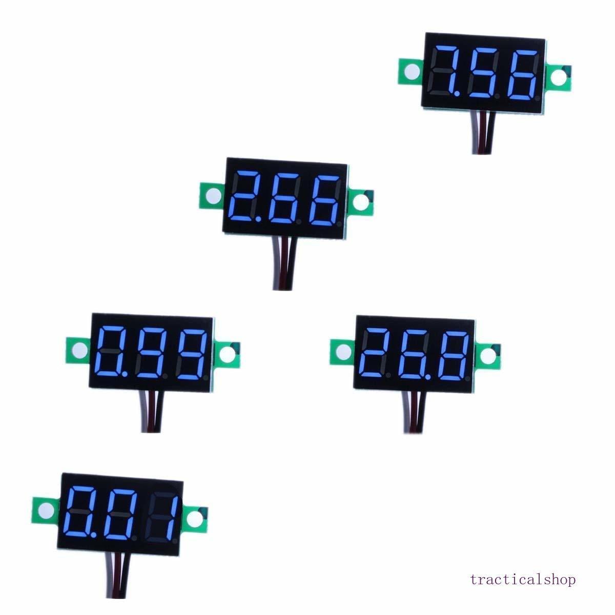 Confezione da 5 a tre fili tarabile DC 0 ~ 30V Digital Blue Mini voltmetro tester del calibro Monte Auto Moto Battery Monitor tensione di volt Meter