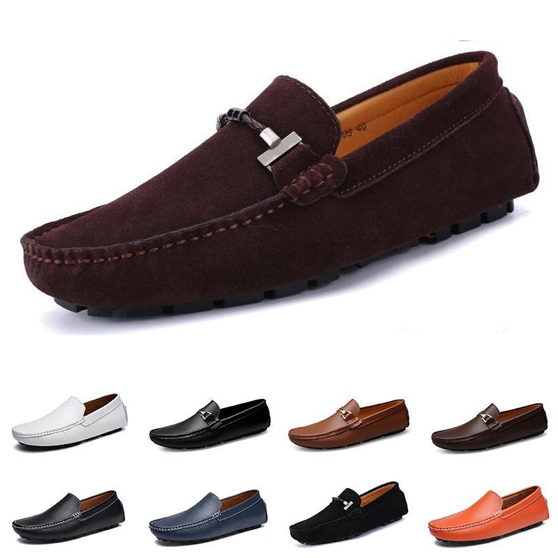 2020 дешевые мужчины повседневная обувь эспадрильи тройной черный белый коричневый вина красные мужские кожаные кроссовки на открытом воздухе бег трусцой ходьбе цвет # 16