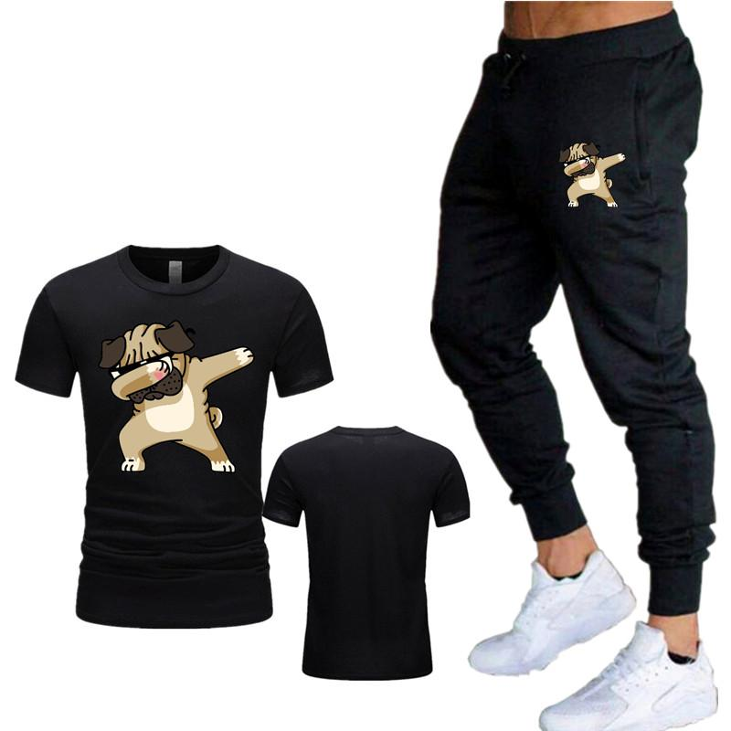 2020 men's new hip-hop Trend dog print fashion suit summer T-shirt + trousers street casual explosion models men and women sport