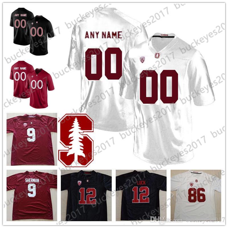 Özel Stanford Kardinal Futbol Herhangi İsim Numara dikişli siyah kırmızı beyaz Jersey # 3 KJ Costello 19 JJ Arcega-Whiteside Ertz Elway Luck Aşk