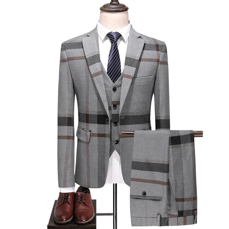 ( 3pcs Set: Jacket+Vest+Pants ) Men's Chequered Suit Three-piece Wool Cloth Suits for Men Wedding Suits,Size:S~5XL -Blue,Gray