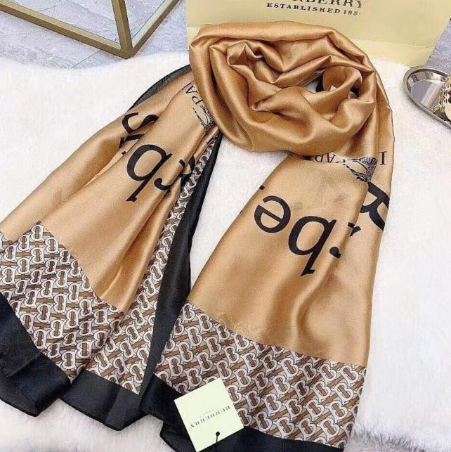 La última marca de lujo bufanda famosa carta diseñador de regalo de la señora del patrón de la bufanda de alta calidad 100% de seda larga bufanda tamaño 180x90cm SP20
