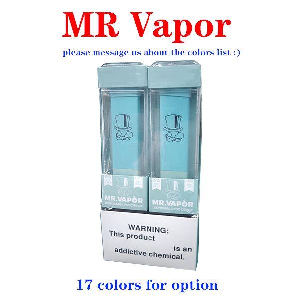 2020 caliente de dispositivos MR VAPOR disspape pluma Pod Starter Kit MRVAPOR 280mAh batería 1,3 ml cartuchos 400Puffs precargada e cigs vaporizadores.