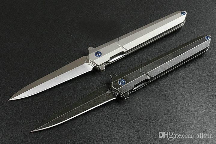 2020 High End Ball Bearing Flipper Fodling Knife D2 Satin / Black Stone Wash Blade TC4 Titanium Alloy Handle EDC Tools