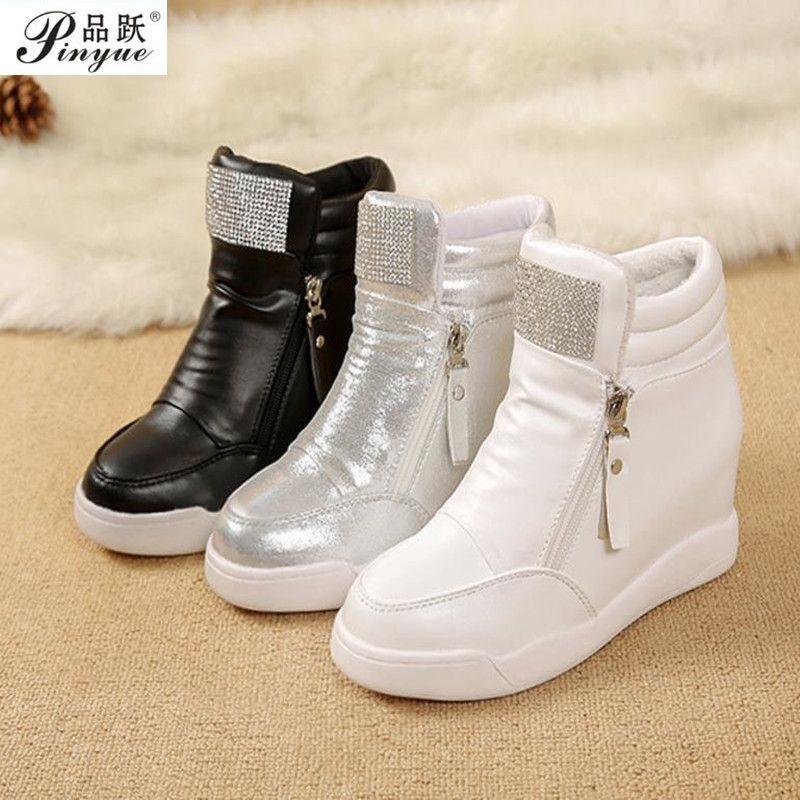 Hot Sale New Wedge Shoes Hidden Heels Women's Elevator Casual For Women With Zipper Black White Silver Rhinestone 35--40
