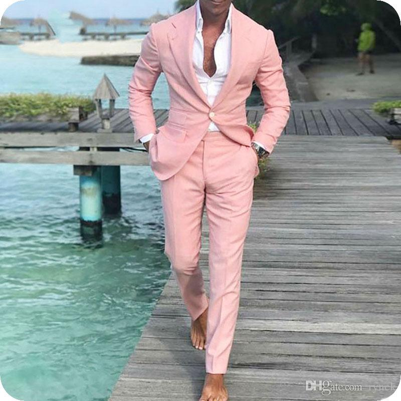 Latest Coat Pant Designs Linen Pink Men Suits for Wedding Groom Tuxedos Groomsmen Blazer One Button 2Piece Summer Beach Business Male Jacket
