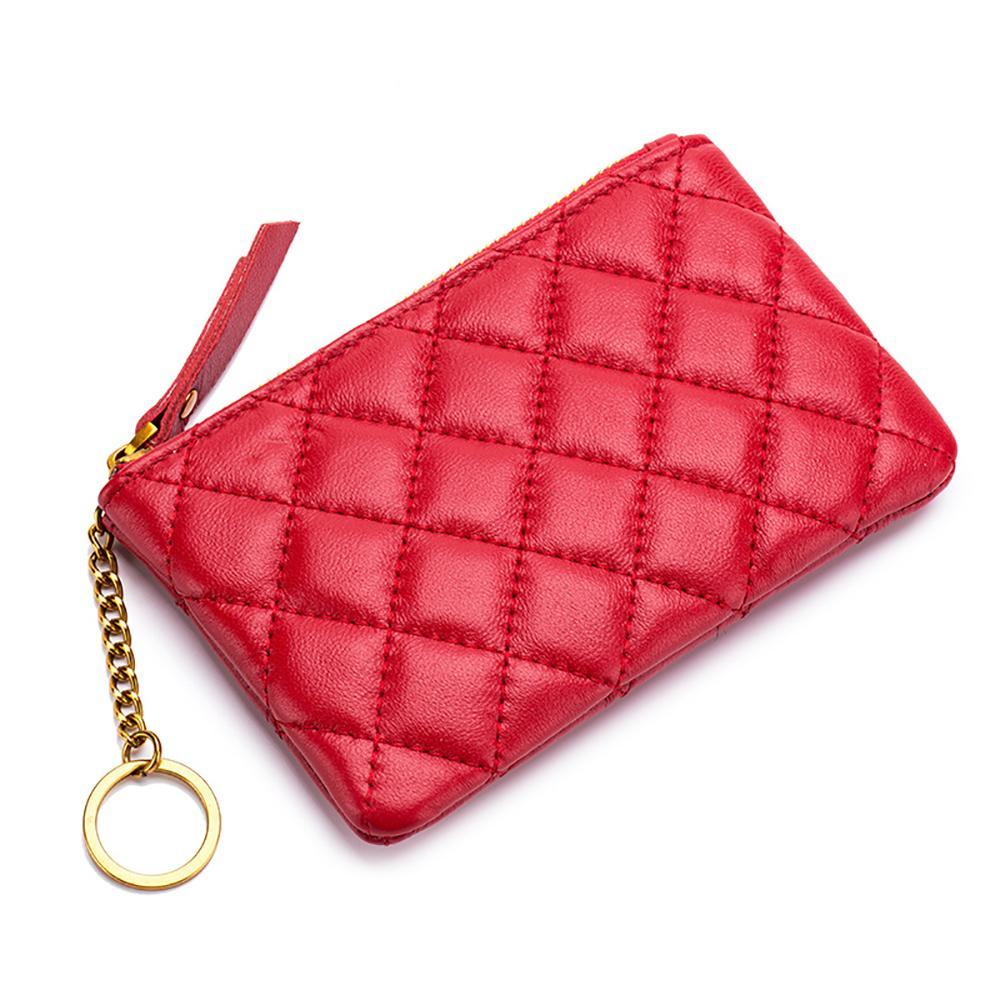 Genuine Leather Mini portafoglio delle donne di pelle di pecora della borsa della moneta della ragazza Zipper Coin Pocket Card Organizer Custodia con portachiavi Small Change
