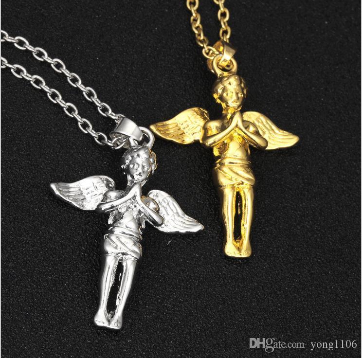Europa y América tendencia de la moda hip-hop de la personalidad Collar dorado ángel joyería collar de dibujos animados del ala del ángel colgante