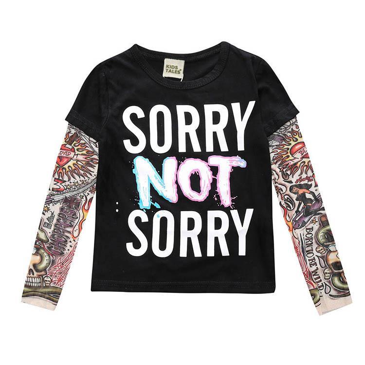 Boy Clothes Cotton T-shirt Long Sleeve Children Tee Shirts Novelty Tattoo Sleeve Baby Girl Tops Autumn Kids Top